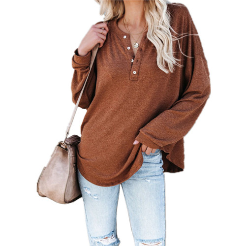 Orange Solid color long-sleeved round neck pullover button top T-shirt