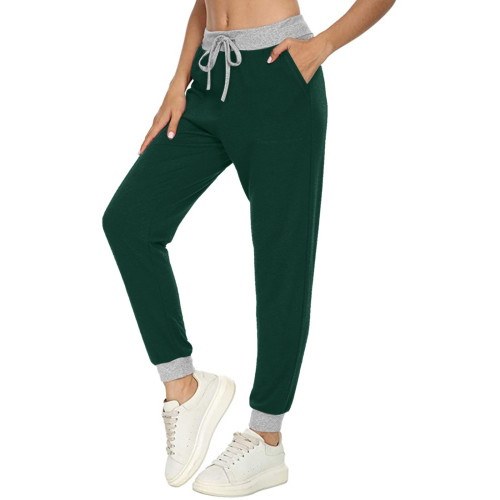 Green Casual sports all-match solid color pocket stitching drawstring trousers