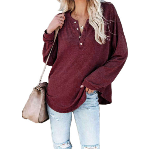 Claret Solid color long-sleeved round neck pullover button top T-shirt