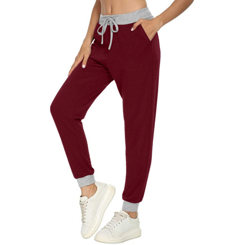 Claret Casual sports all-match solid color pocket stitching drawstring trousers