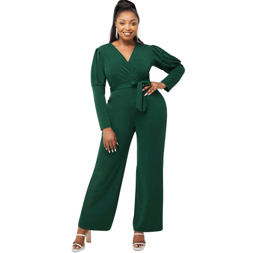 Green   Autumn and winter solid color V-neck puff sleeves personality casual wide-leg jumpsuit