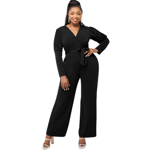 Yellow  Autumn and winter solid color V-neck puff sleeves personality casual wide-leg jumpsuit