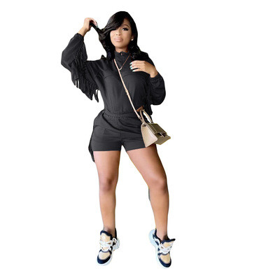 Black  Long-sleeved shorts tracksuit with pockets