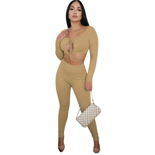 Khaki  Autumn and winter fine pit strip fabric sexy slim two-color hollow long-sleeved two-piece suit