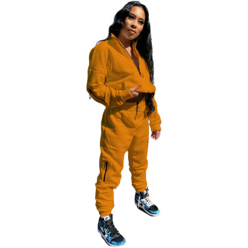 Orange Pure Color Sweatshirt Jacket Zipper Stand Collar Pencil Pants Sports Suit