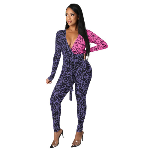Purple powder   autumn and winter fashion color matching V-neck sexy hip-lifting strappy jumpsuit
