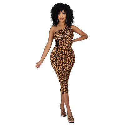 Leopard  Hollow hip-lifting seven-point dress