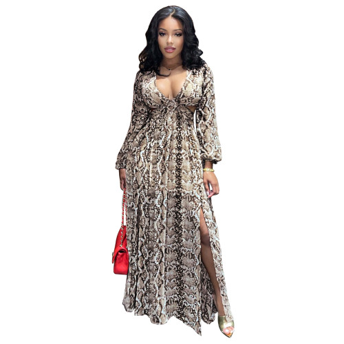 Brown Sexy hollow and elegant beach dress with python pattern slit long skirt
