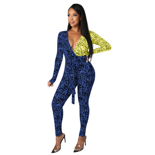 Blue yellow    autumn and winter fashion color matching V-neck sexy hip-lifting strappy jumpsuit
