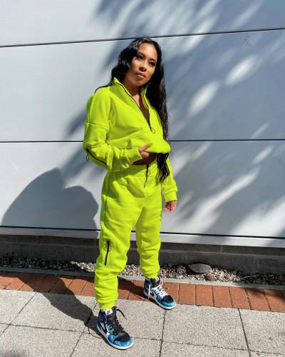 Yellow Pure Color Sweatshirt Jacket Zipper Stand Collar Pencil Pants Sports Suit
