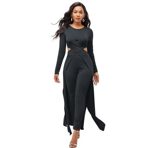 Black  Two-piece autumn and winter multicolor leggings cross-cut cloak sweater