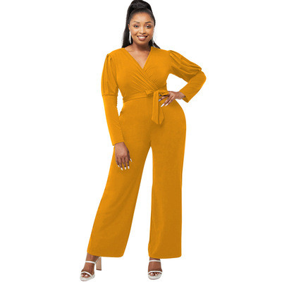 Black   Autumn and winter solid color V-neck puff sleeves personality casual wide-leg jumpsuit