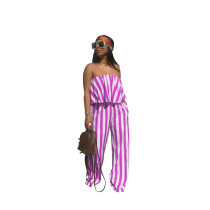 Purple Loose wide-leg trousers suit with ruffled blouse