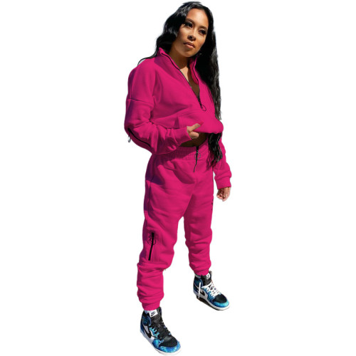 Rose red Pure Color Sweatshirt Jacket Zipper Stand Collar Pencil Pants Sports Suit