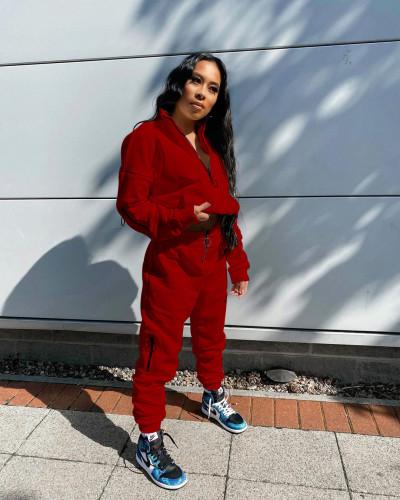 Red Pure Color Sweatshirt Jacket Zipper Stand Collar Pencil Pants Sports Suit