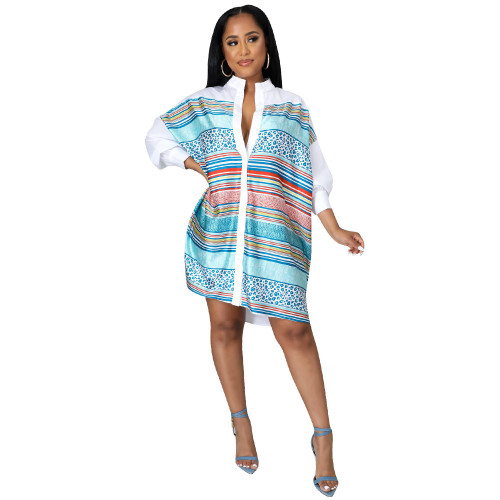 Blue and white Long-sleeved shirt dress with fall/winter positioning print