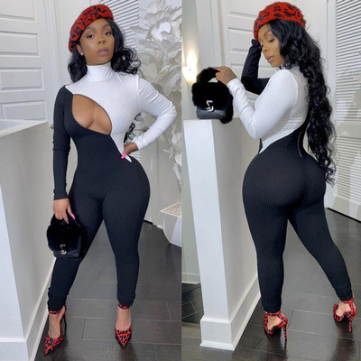 Women's three-color pit strip zipper sexy jumpsuit