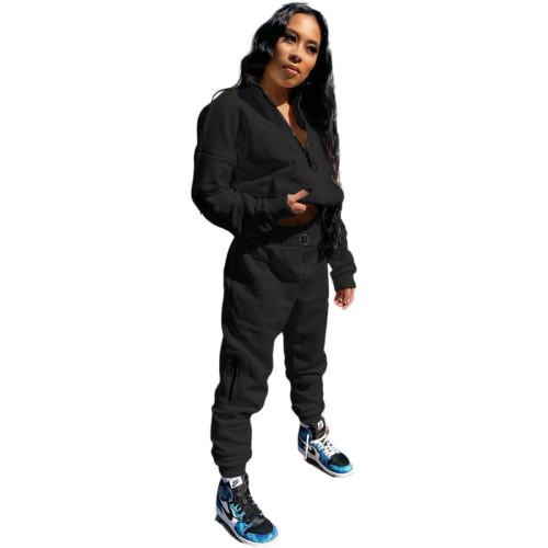 Black Pure Color Sweatshirt Jacket Zipper Stand Collar Pencil Pants Sports Suit