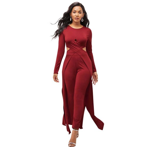 Red  Two-piece autumn and winter multicolor leggings cross-cut cloak sweater
