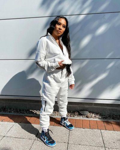 Pure Color Sweatshirt Jacket Zipper Stand Collar Pencil Pants Sports Suit