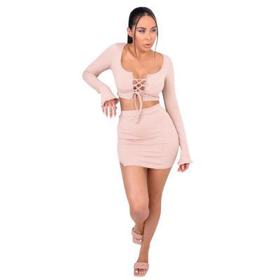 Pink  Two-piece set of hip miniskirt autumn models