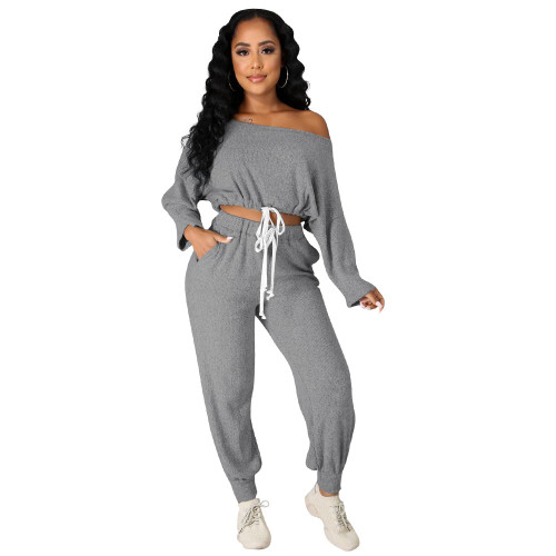 Grey   Autumn and winter models hot-selling multi-color casual loose rowan two-piece suit