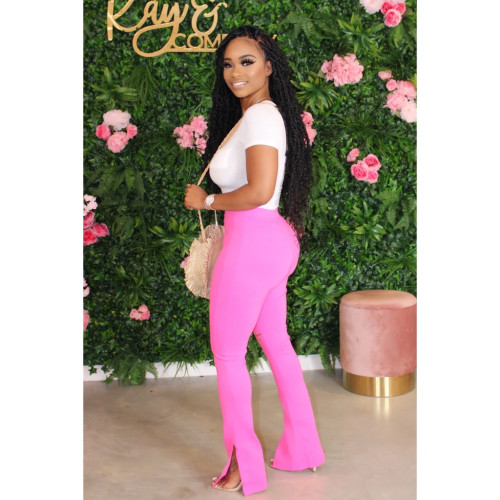 Pink Fashion casual trousers sexy burnt flower split casual trousers