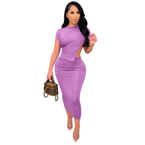Purple Solid color tight-fitting short-sleeved dress open back sexy long dress