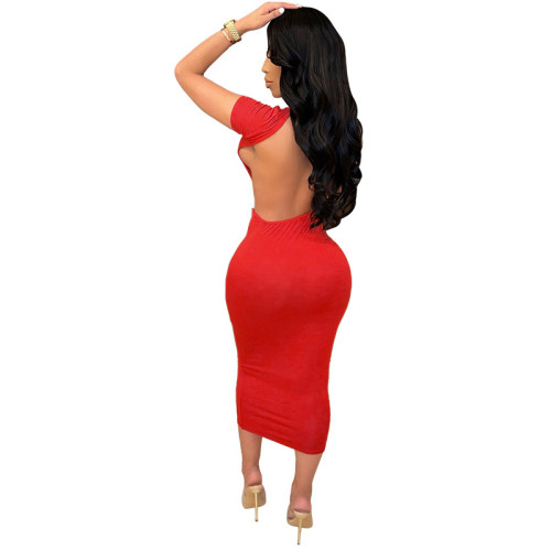 Red Solid color tight-fitting short-sleeved dress open back sexy long dress