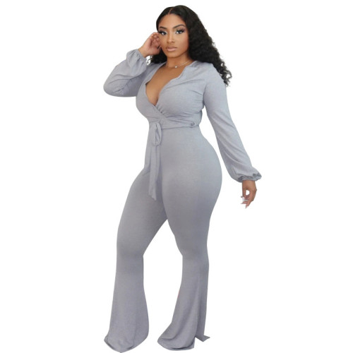 Gray Tight-fitting strappy long-sleeved sexy low-cut flared trousers jumpsuit