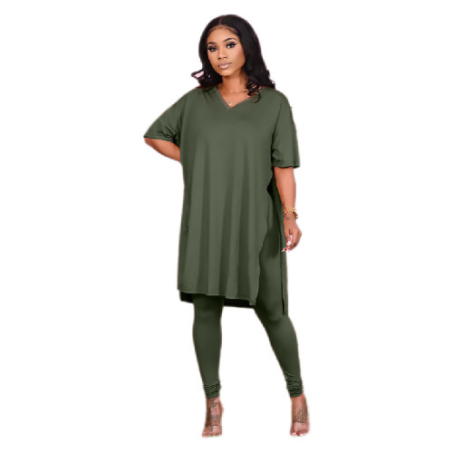 Green Pure color round neck irregular split casual short-sleeved suit