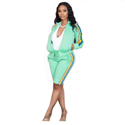 Light green Lapel pull color woven long-sleeved sweater two-piece sports casual pants suit