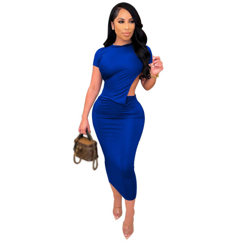 Bule Solid color tight-fitting short-sleeved dress open back sexy long dress