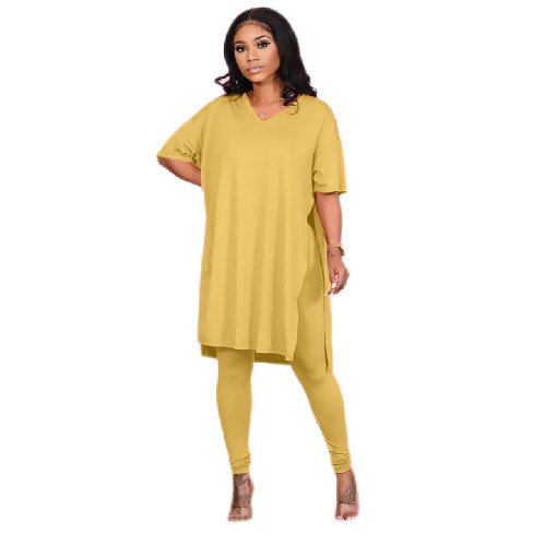 Pure color round neck irregular split casual short-sleeved suit