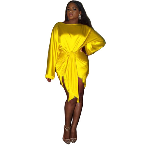 Yellow  Silk soft skin-friendly fabric ladies short skirt