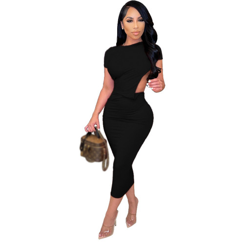 Black Solid color tight-fitting short-sleeved dress open back sexy long dress