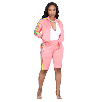 Lapel pull color woven long-sleeved sweater two-piece sports casual pants suit