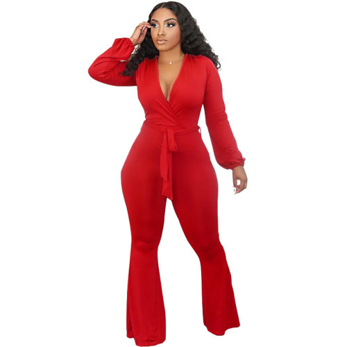 Tight-fitting strappy long-sleeved sexy low-cut flared trousers jumpsuit