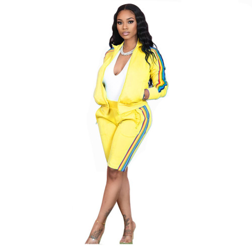 Yellow Lapel pull color woven long-sleeved sweater two-piece sports casual pants suit
