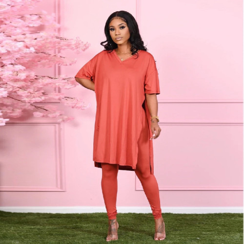 Red Pure color round neck irregular split casual short-sleeved suit