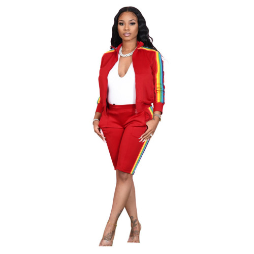 Red Lapel pull color woven long-sleeved sweater two-piece sports casual pants suit