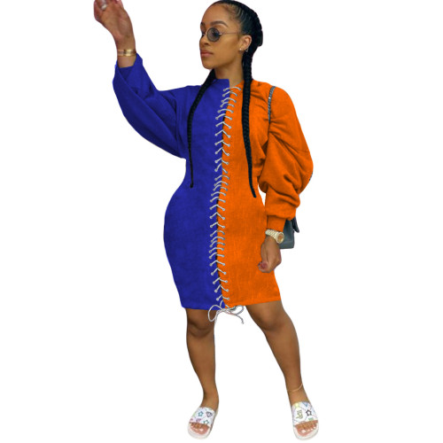 Blue Orange  Sexy lady's dress with corn eyes and rope dress with thickened sweater skirt