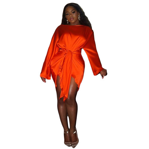 Red   Silk soft skin-friendly fabric ladies short skirt