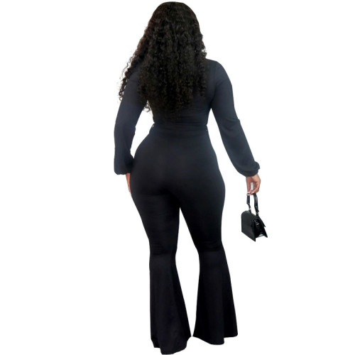 Black Tight-fitting strappy long-sleeved sexy low-cut flared trousers jumpsuit