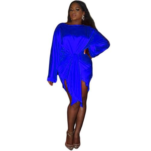 Blue  Silk soft skin-friendly fabric ladies short skirt