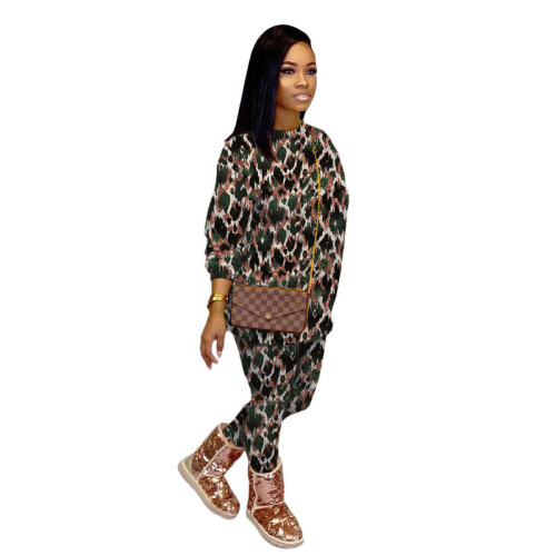 Printed round neck thick casual sweater suit bottoming shirt