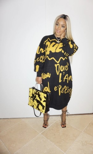 Black and yellow   Thick autumn and winter long-sleeved dress