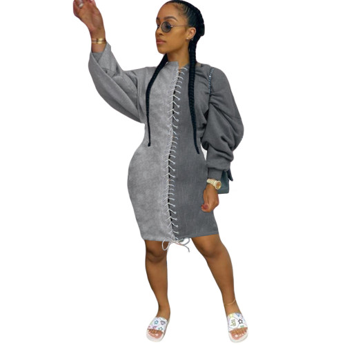 Grey  Sexy lady's dress with corn eyes and rope dress with thickened sweater skirt
