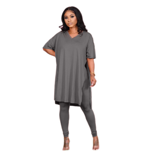 Gray Pure color round neck irregular split casual short-sleeved suit