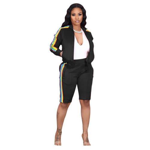 Black Lapel pull color woven long-sleeved sweater two-piece sports casual pants suit